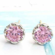 Vintage Womens 14K gold filled Silver plated Pink Crystal Cuff Stud Earrings