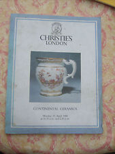 Christie's London catalogue for Sale of Continental Ceramics 11 April 1988