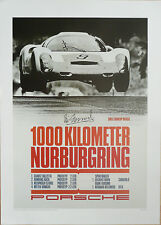 PORSCHE 910  NURBURGRI NG 1000 kms 1967 Victory poster Hand signed by Vic Elford