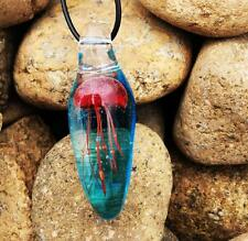 Jellyfish pendant jewelry vintage style Sea life jewelry Glass Drop Necklace NG