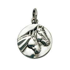 Sterling Silver Stallion and Mare Horse Head Pendant