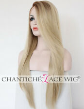 Lace Front Wigs Ombre Brown&Blonde Synthetic Hair Long Straight Heat Resistant
