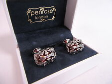 Penrose of London Designer Silver Zodiac Cufflinks Blood Red Enamel #CL60