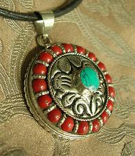 Fantastico Tibet. amuleto nel Nepal Argento + Turchese + CORALLO Lotus