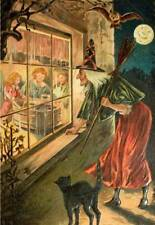 Halloween Moon Bats, Witch Cat Children in window