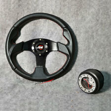 320MM Black PVC Leather Red Stitch Racing Steering Wheel JDM Horn + Hub Adapter