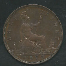 Great Britain, 1870, 1/2 Penny, Bronze, Km#748.2, Choice Extra Fine