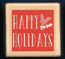 HAPPY HOLIDAYS Fir word HOLLY Stencil Gift Tag NEW wood mount RUBBER STAMP