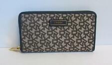 DKNY Signature canvas wallet Zipper ink blue leather Donna Karan logo brown new