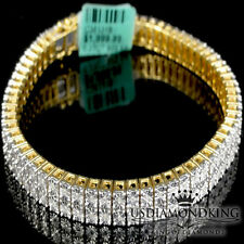 Men's Ladies Real Genuine Diamond Yellow Gold Finish 2 Row Tennis Bracelet 8.25""