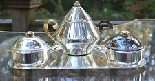 Tray & Sugar Bowl w/two small bowls  SILVER PLATED AND GOLD PLATED Made in Italy