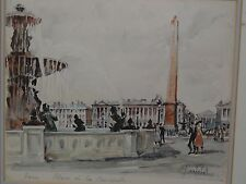 Franz Herbelot Signed Watercolor Painting Paris Scene Place de la Concorde
