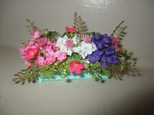 "3"" Miniature doll/dollhouse Pastel blue window box/assorted floral"