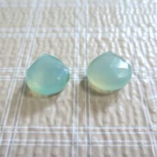 2pc Light Green Chalcedony Faceted Teardrop Onion Beads 10-12mm
