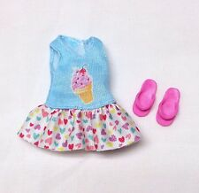 Barbie Chelsea Kelly Puppy Chase Adventure Pink & Blue Ice Cream Dress + Shoes