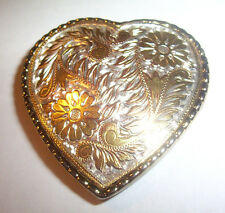 Cowgirl Heart Shaped Western Rodeo Style Ladies Metal Belt Buckle W USA Made