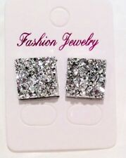 Small Silver Sparkly Square Crystal Diamante Rhinestone Stud Earrings