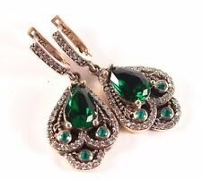 Elegant!!! Turkish Jewelry Handmade Emerald Topaz  925K Sterling Silver Earrings