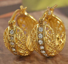 Amazing 9K Real Yellow Gold Filled CZ Womens Hoop Earrings,Z1902