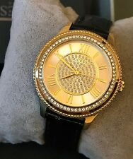 Guess Ladies Gold Tone Black Leather Classic Watch w/ Crystals U0840L1 NWT Box