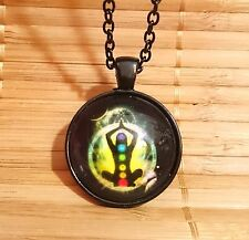 BLACK Yoga Chakra Sphere Rainbow Buddha Pendant Photo Necklace Meditation +Pouch