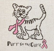 Ruth Schmuff / Sue Kent Purr for the Cure Saying Handpainted Needlepoint Canvas