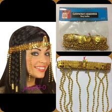 Women Egyptian Beaded Headdress Cleopatra Fancy Dress Costume Hair Decor - UK