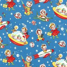 Michael Miller Retro Rocket Rascals Fabric in blue .Childrens,retro.By the FQ