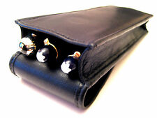 Black Napa Leather Triple Magnetic Flap Pen Case/Pouch