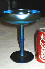 # 2 ANTIQUE STEUBEN BLUE AURENE CHALICE COMPOTE BOWL ART GLASS DISH VASE # 2642