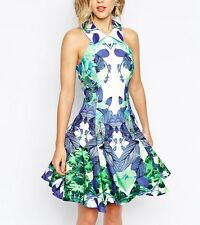 *SALE* BNWT Forever Unique Laura Mirror Print Skater Prom Dress UK10 RRP £195