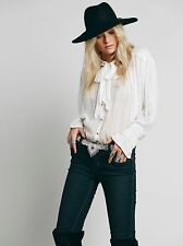 122916 New $138 Free People FP ONE Tie Front Blouse Sheer Shirt Tunic Top M