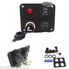 CAR VAN BOAT VOLT METER USB PORT CIGARETTE SOCKET ON OFF SWITCH PANEL MOUNT KIT