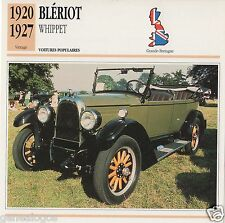 FICHE AUTOMOBILE GLACEE GB CAR BLERIOT WHIPPET 1920-1927