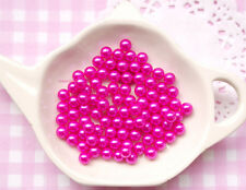 100 x 6mm Fuchsia Pink Pearls Beads WITHOUT Holes Sprinkles Decoden - UK SELLER