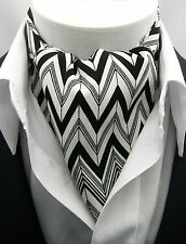 New Modern Day Silk Ascot Cravat Tie Black and White Geometric