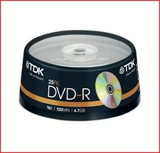 Tdk Dvd-r 4.7 Gb 16x Speed 120min Dvd Regrabables Discos Husillo Pack 25 (t19416)