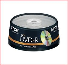 TDK DVD-R 4.7GB 16x velocità 120min Registrabile DVD Discs Spindle Pack 25