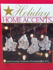 Holiday Home Accents Jade Porcelain Snowmen Christmas Ornaments 4 Ornaments New