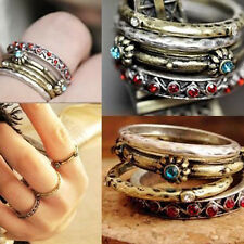 4 pcs Womens Vintage Punk Crystal Rhinestone Finger Rings Retro Ring Set Jewelry