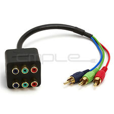 3 RCA Component Video 1 Male to 2 Female RGB Splitter