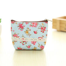 u; e Women Canvas Wallet Small Clutch Zip Card Coin Holder Purse Light Bluekk