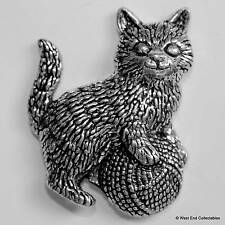 Kitten Playing with Wool Pewter Pin Brooch -British Hand Crafted- Kitty Cat