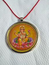 GodGanesha & Laxmi Handcrafted Handmade Double Side Photo Reverse Brass Pendant