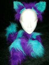 The Cheshire Cat Ears And Tail Fancy Dress Set Purple & Turquoise One Size Fab!