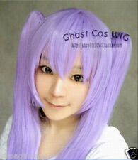 Lucky Star Long Fashion Purple Straight Cosplay Wig WIth Two Clip Ponytails H-48