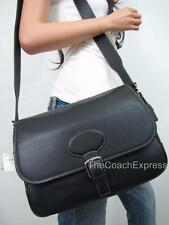 COACH NWT Black Leather Hampton Saddle Flap Crossbody Messenger Bag #7750