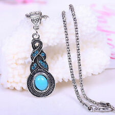 Frauen-Silber überzogene Kette Türkis Kristall Ohrringe Halskette Set Schmuck