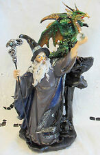 Fantasy Dragon & Wizard HOLDING CRYSTAL & DRAGON STAFF new with box