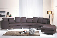 Seven seater, couch, brown, modular, genuine leather, round sofa settee